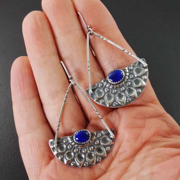 mandala earrings with lapis