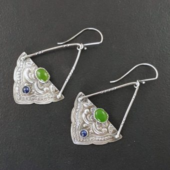 mandala earrings with jade and blue sapphire michele grady