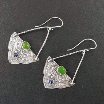 mandala earrings with jade and blue sapphire michele grady
