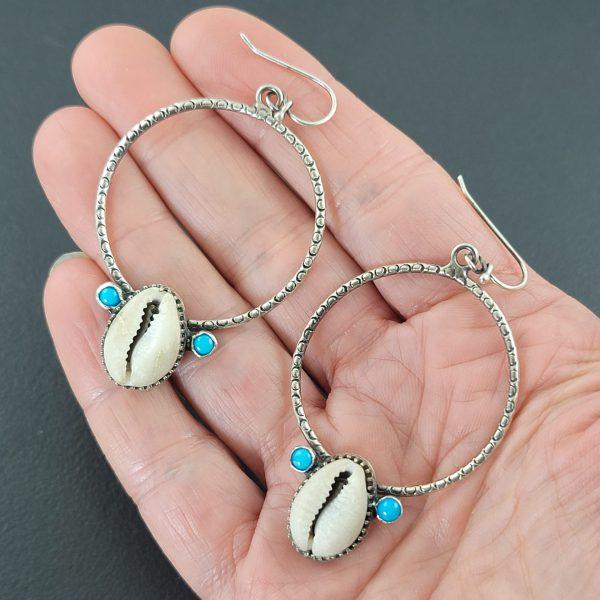 Cowrie Shell Hoop Earrings