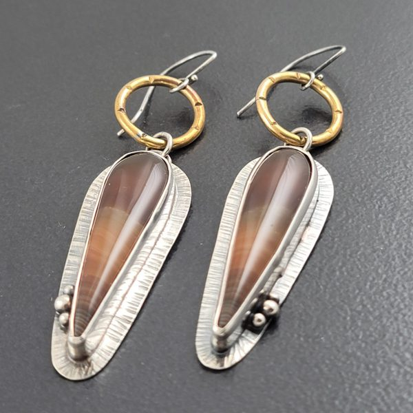 banded agate mixed metal earrings