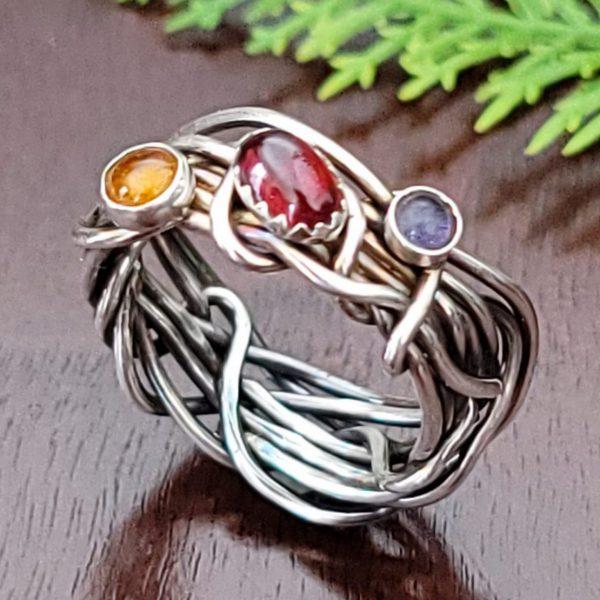 Garnet Grapevine Ring Size 7.5