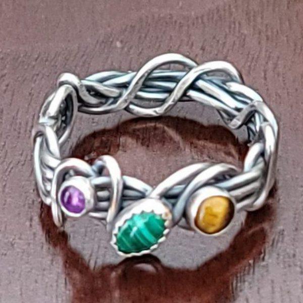 Malachite Grapevine Ring Size 8