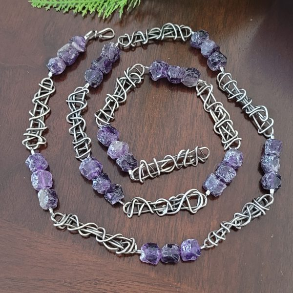 Amethyst Grapevine Beaded Necklace