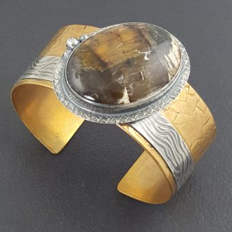 Pietersite Mixed Metal Cuff Bracelet 3