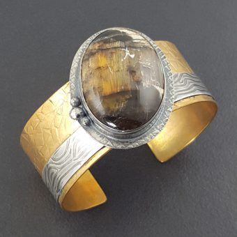 Pietersite Mixed Metal Cuff Bracelet 4