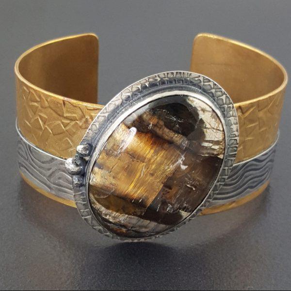Pietersite Mixed Metal Cuff Bracelet 1