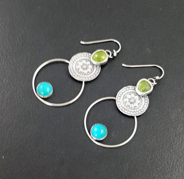 Turquoise and Vesuvianite Earrings 4