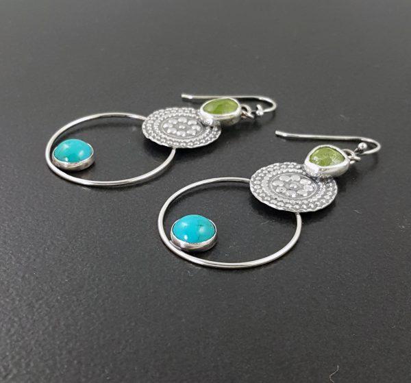 Turquoise and Vesuvianite Earrings 5