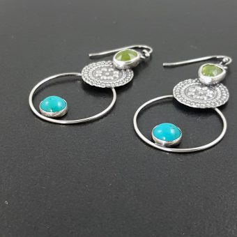 Turquoise and Vesuvianite Earrings 6