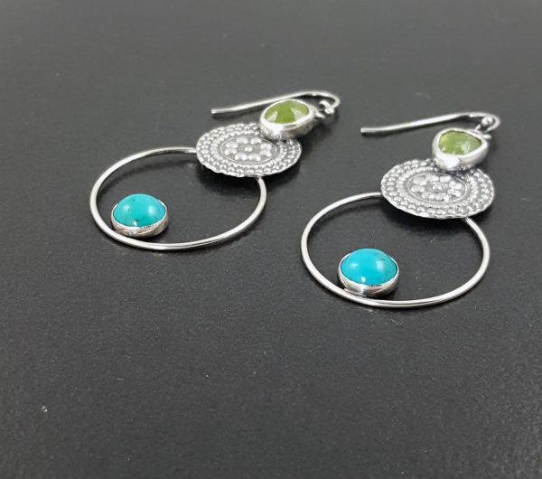 Turquoise and Vesuvianite Earrings 6