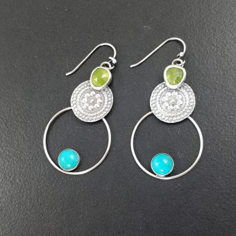 Turquoise and Vesuvianite Earrings 1