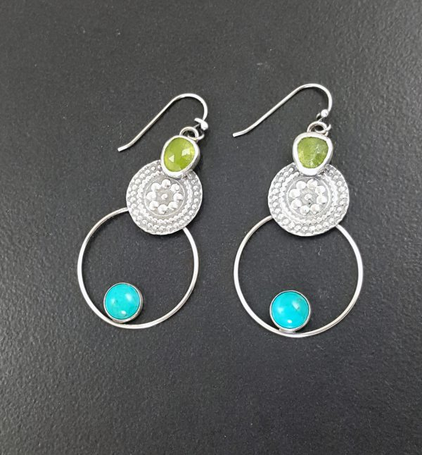 Turquoise and Vesuvianite Earrings 1
