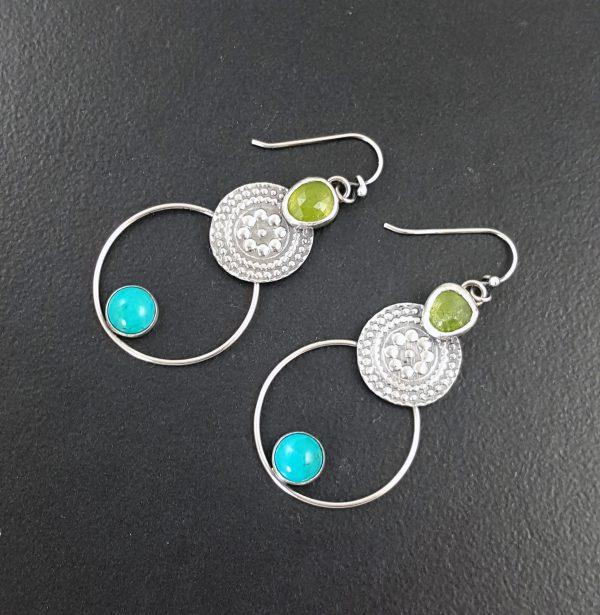 Turquoise and Vesuvianite Earrings 2