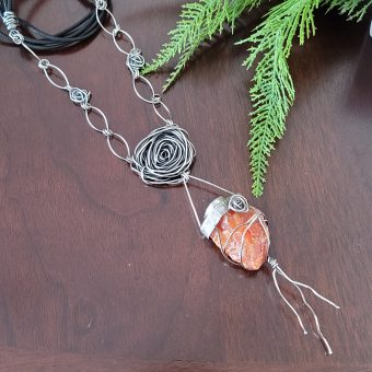 orange calcite rose statement necklace 1