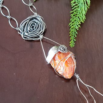 orange calcite rose statement necklace 2
