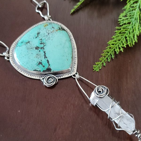 Turquoise Rose Statement Necklace 4