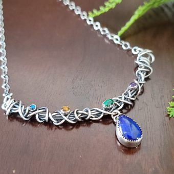 Lapis Drop Grapevine Necklace Michele Grady