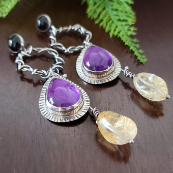 amethyst citrine grapevine earrings 3
