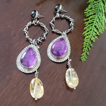 amethyst citrine grapevine earrings