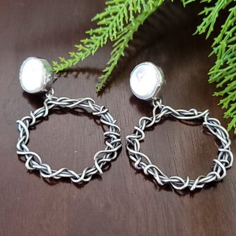 pearl grapevine hoop earrings Michele Grady