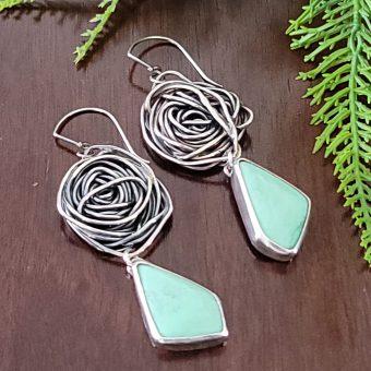 variscite rose earrings