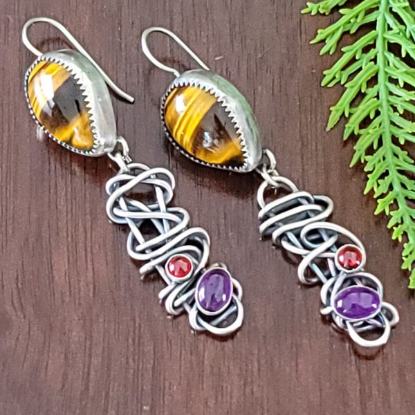 Tiger eye grapevine earrings Michele Grady