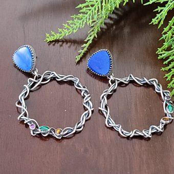 lapis grapevine hoop earrings Michele Grady