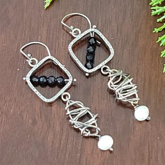 blue goldstone pearl grapevine earrings 2