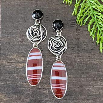 sardonyx rose earrings 1