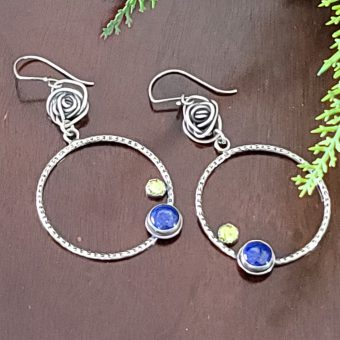 lapis peridot rose hoops 2
