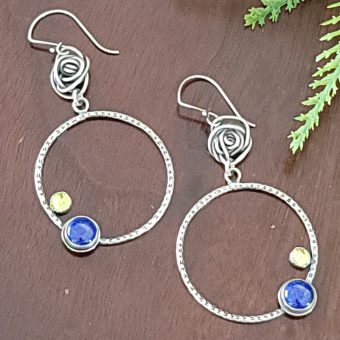 lapis peridot rose hoops 3