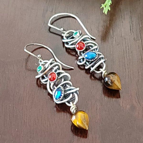 tiger eye drop grapevine earrings Michele Grady