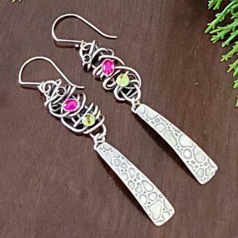 silver tab grapevine earrings Michele Grady