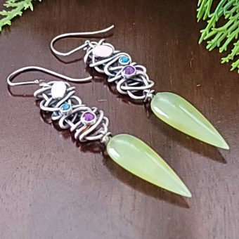 aventurine drop grapevine earrings Michele Grady