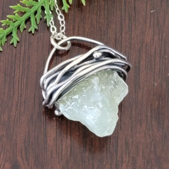 Natural Surface Green Calcite Pendant 4