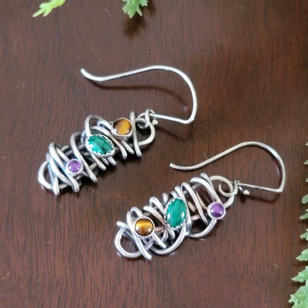 malachite grapevine earrings Michele Grady