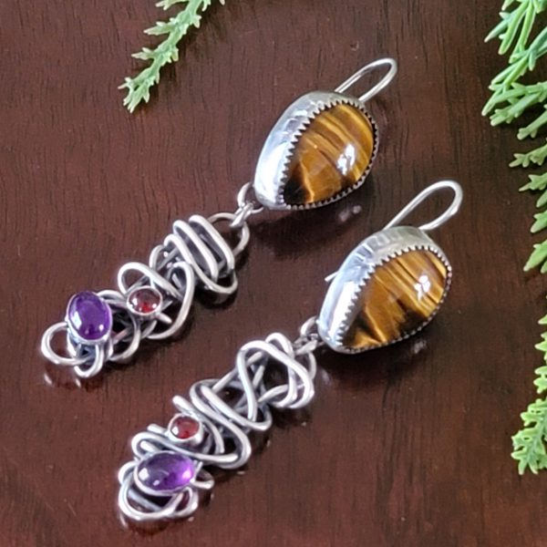 Tiger eye grapevine earrings Michele Grady