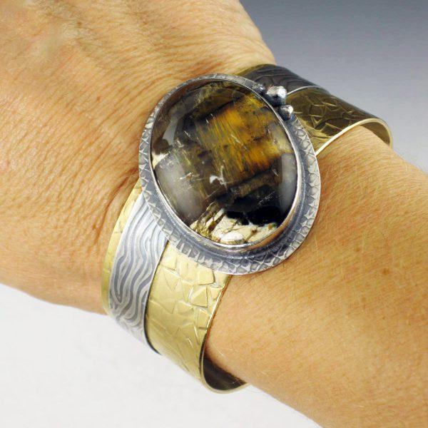 Pietersite Mixed Metal Cuff Bracelet 2