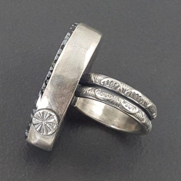snowflake obsidian ring
