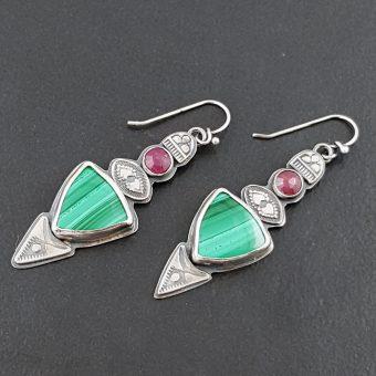 Malachite and Ruby Earrings