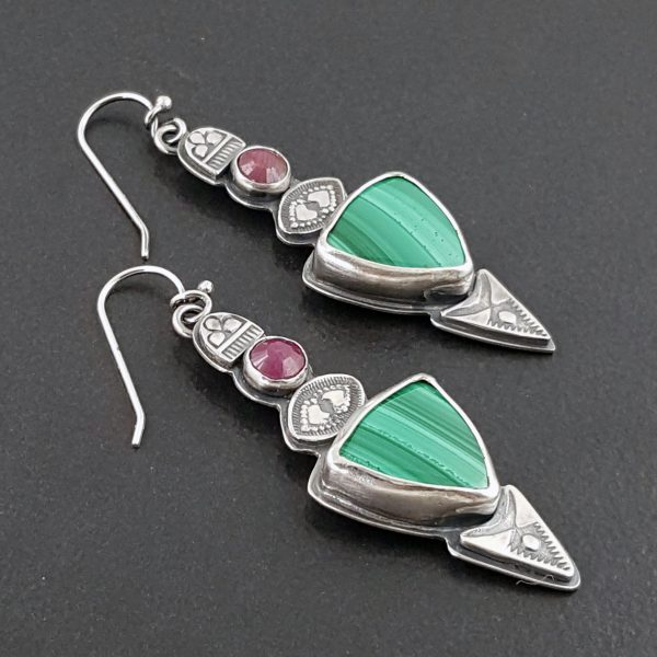 Malachite and Ruby Earrings