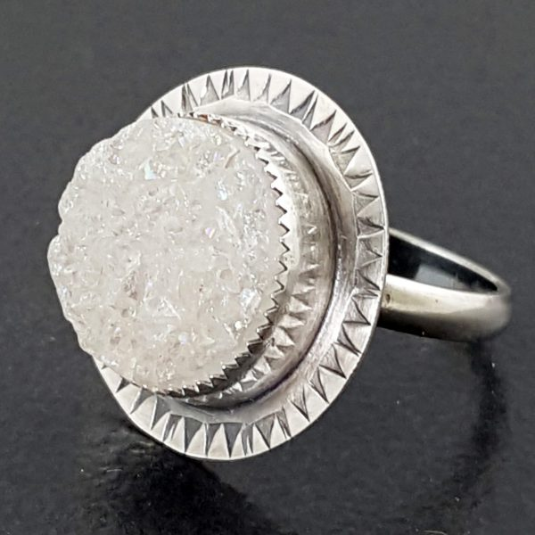 white druzy ring
