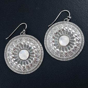 Rainbow Moonstone Mandala Earrings