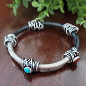 grapevine half leather half silver bangle