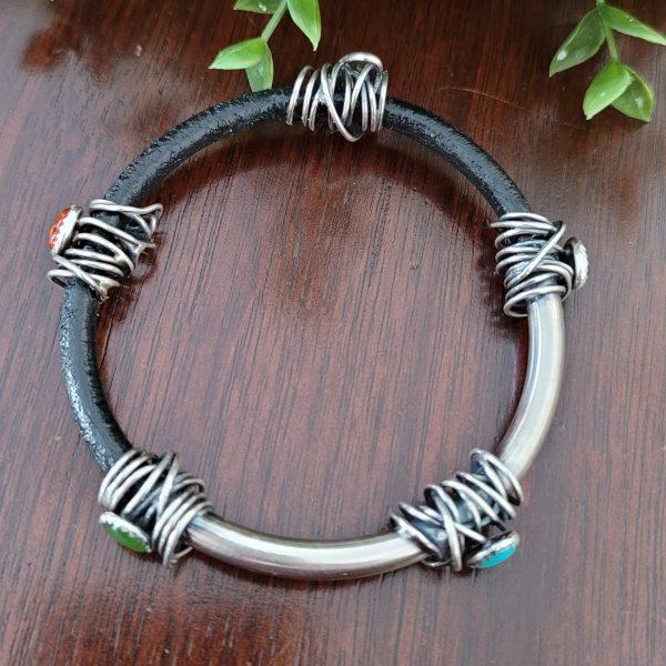 grapevine half leather half silver bangle