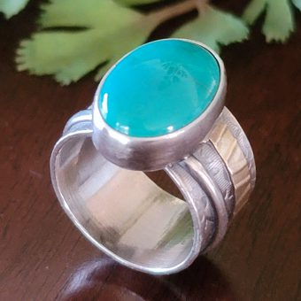 turquoise wide band ring Michele Grady