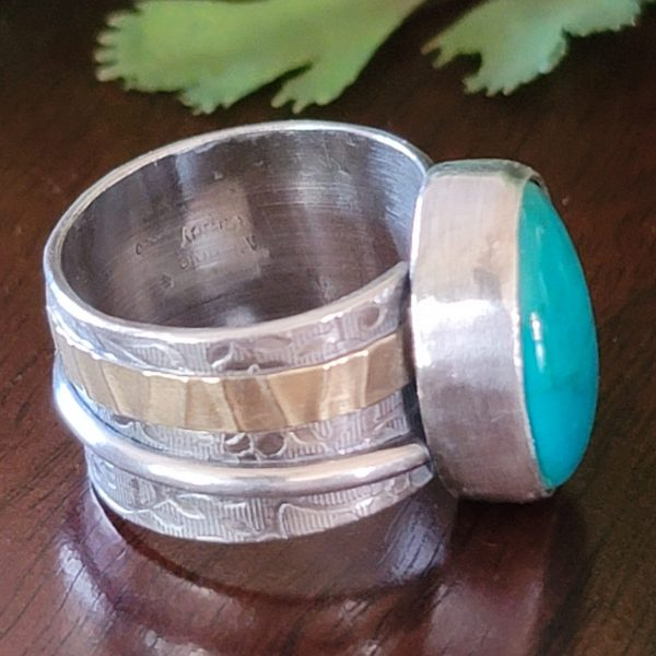 turquoise wide band ring