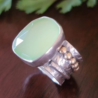 Green chalcedony wide band ring Michele Grady