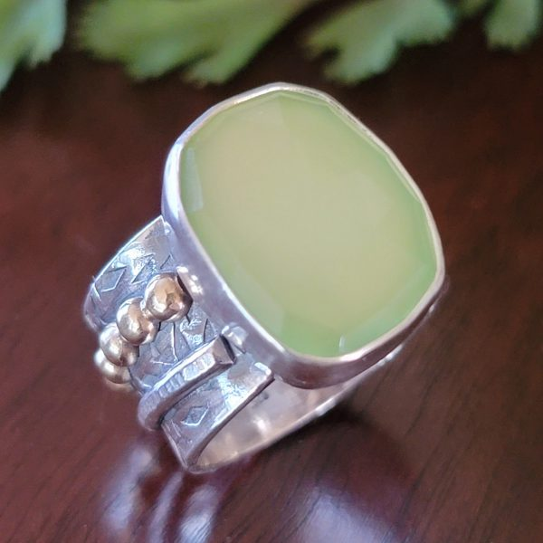 Green chalcedony wide band ring